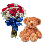 Order flowers to Poland: French Kiss (with Teddy Bear)
