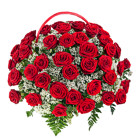 Order flowers to Poland: Hot Fifty Roses Basket
