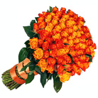 Order flowers to Poland: 100 Roses on Fire Bouquet