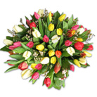 Order flowers to Poland: 50 Colorful Tulips Bouquet