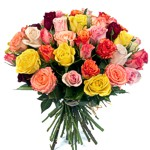Order flowers to Poland: 30 Colorful Roses Bouquet