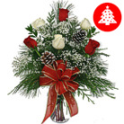 Order flowers to Poland: Red and White Christmas Greetings Bouquet