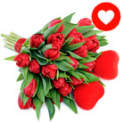 Order flowers to Poland: Two Hearts in Tulips Bouquet