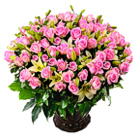 Order flowers to Poland: For the One and Only - 101 Pink Roses and Lilies Basket