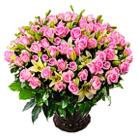 Zamów kwiaty do Polski: Dla Tej Jedynej - Kosz 101 Różowych Róż z Liliami