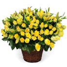 Order flowers to Poland: Spring Madness - 101 Yellow Roses and Lilies Basket